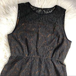 FOSSIL lace tan dark gray sleeveless dress medium